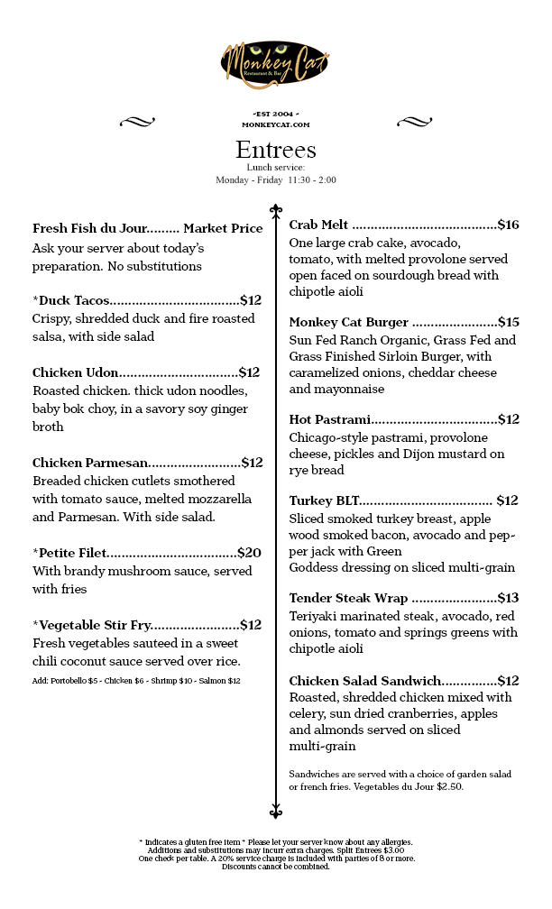 Lunch Menu, served Monday - Friday 11:30-2:00
